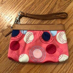 Pink Pattern Coach Wristlet